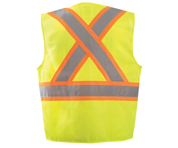"High Visibility Two-Tone Surveyor ""X"" Back Mesh Vest"