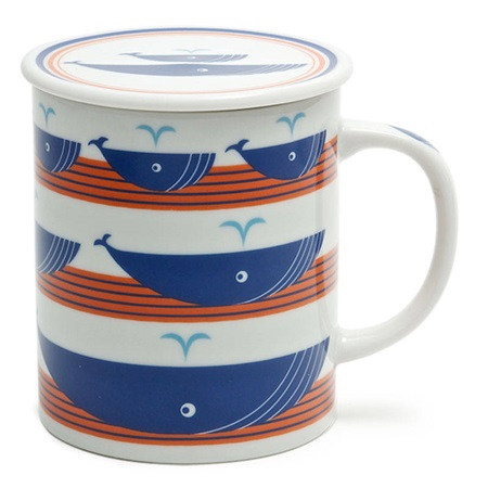 Whale 8 Oz. Lidded Mug- Orange