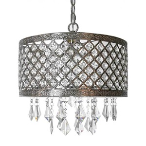 "14.25""H Silver and Crystal Lattice Chandelier"