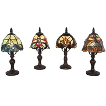 Set of 4 - Family Favorites Tiffany Style Stained Glass Mini Accent Lamps