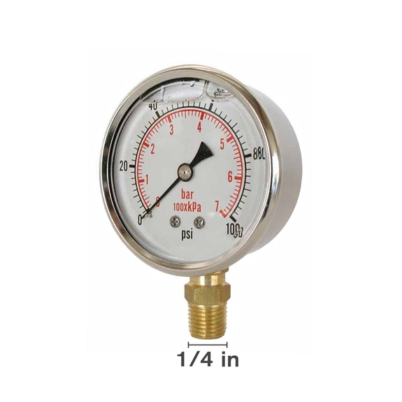 "Gly 100 PSI 4"" Bottom Mount Gauge-BOOK"