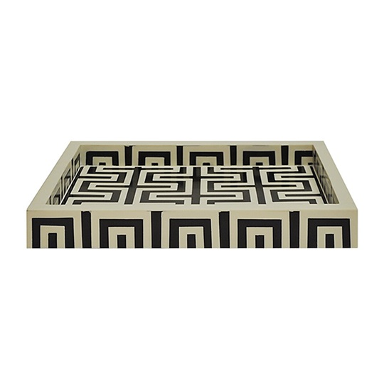 Black and Off White Greek Key Pattern Tray