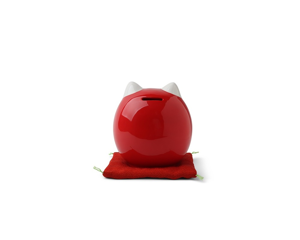 Daruma Fortune Cat Bank 5.5""