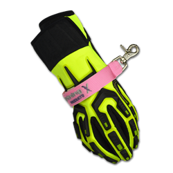 Value Nylon Webbing Strap for Structural Fire Gloves; Velcro w/ Snap Hook PINK w/ Black Hardware
