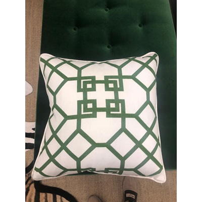 Green and White Pattern Down Pillow