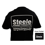 Black Steele Rubber Products Logo T-Shirt