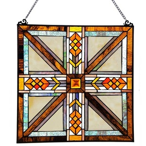 "17.5""H Stained Glass Southwestern Mission Style Window Panel"
