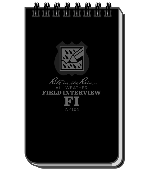 No. 104 3 x 5 Black Cover Rite In The Rain Weatherproof Field Interview Notebook Field Interview Form Pages