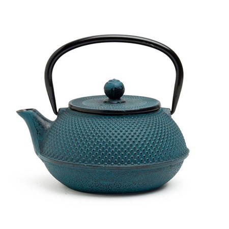 Blue Hobnail Cast Iron Teapot - 30 Oz.