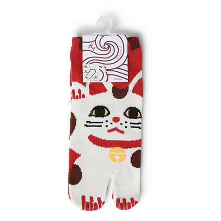 Tabi Socks - Maneki Neko Red