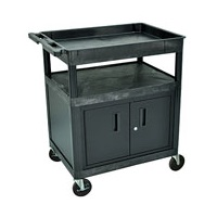 Luxor TC122C-B 2-Shelf Cart with Locking Cabinet