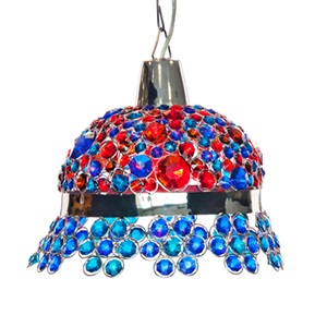 "11.8""H Crystal Jeweled Bonnet Hanging Lamp"