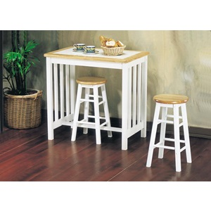 02140NW 3PC BREAKFAST SET, NAT/WH TILE