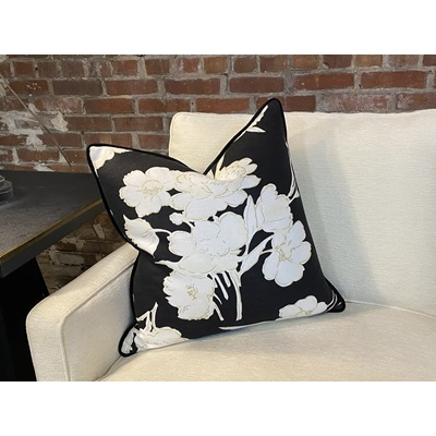 Ralph Lauren Black and Off White Floral Print Linen Fabric w/ Gold Accents Down Pillow