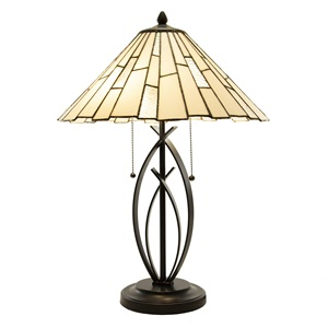 "23""H Whitney 2-Light Contemporary Stained Glass Table Lamp"
