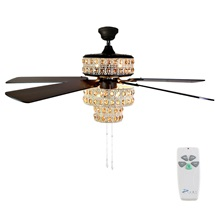 "52""W Punched Metal and Crystal Ceiling Fan"