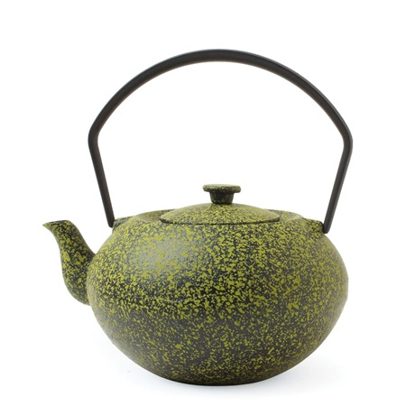 CAST IRON TEAPOT GREEN SPECKLED 15oz.