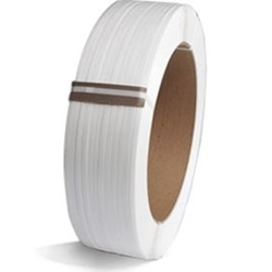 "3/8"" X 12900' .024 WHITE POLY STRAPPING ON 9 X 8"" CORE"